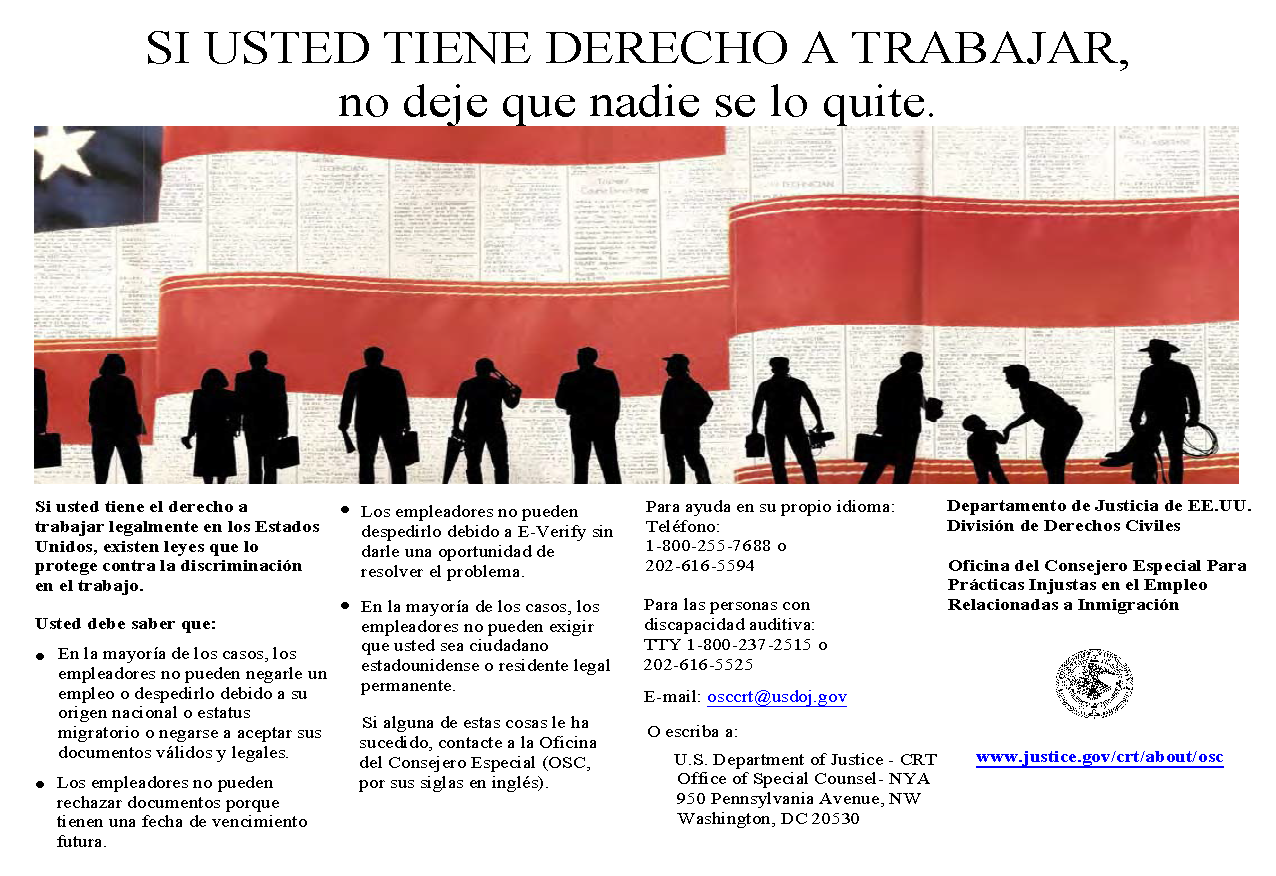 Right to Work Web Poster - Spanish